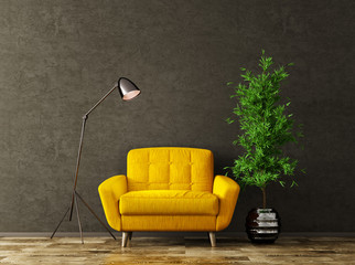 Interior with yellow armchair 3d rendering