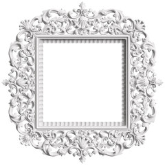 Classic white  frame with ornament decor isolated on white background