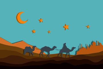 night in the desert, a caravan of camels among the sands under the crescent and the stars keeps the path town