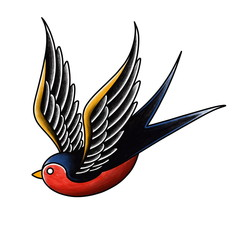 Hand drawn Swallow bird tattoo design on white background, Old school traditional tattoo style.