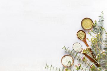Bio herbal green eucalyptus branches cosmetic arrangement, sea salt and handmade cosmetic.