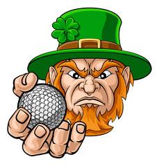 A leprechaun golf sports mascot holding a ball