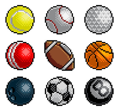 An 8 bit pixel art style video arcade game cartoon sports balls icon set