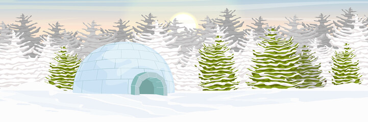 Igloo. Icehouse. Ice dwelling of the Eskimos. Snow covered plain. Spruce forest. Arctic and Antarctic. Realistic vector landscape.