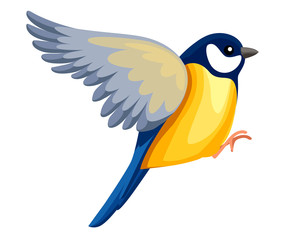 Side view of flying Titmouse bird. Flat cartoon character design. Colorful bird icon. Cute titmouse template. Vector illustration isolated on white background