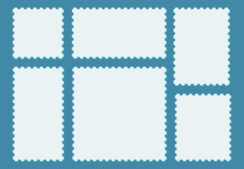 Blank postage stamps set in vintage style. Light stamps and postmarks on blue background. Vector illustration