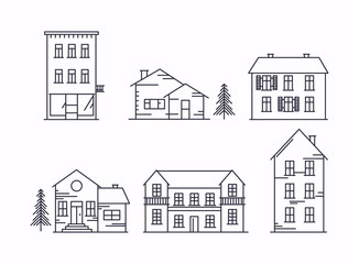 Vector illustration in linear style. Icons and illustrations with buildings, houses and trees. Ideal for business web publications, graphic design. Flat style vector illustration.