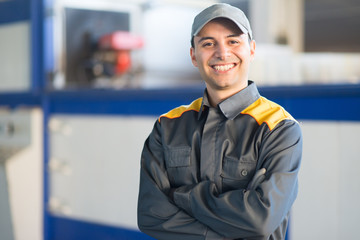 Portrait of a smiling industrial worker