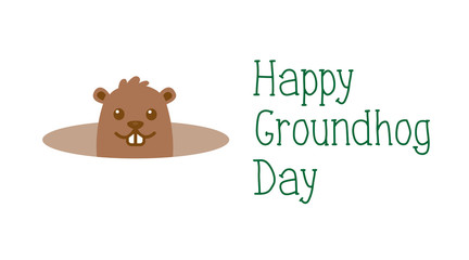 Happy Groundhog day, welcome of spring greeting card. Cute cartoon groundhog with handwritten text. Isolated on white background.
