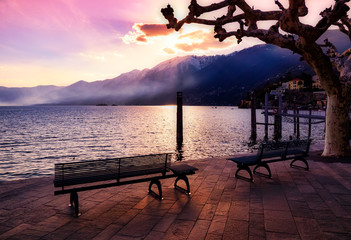 Beautiful evening atmosphere in Ascona on Lake Maggiore