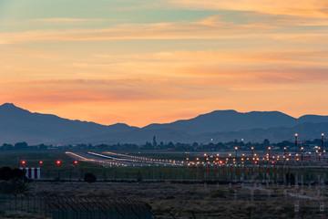 Airplane runway at sunset, Alicante/Elche, Costa Blanca, Spain, Spain, Europe