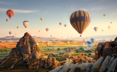 Hot air balloons flying over spectacular Cappadocia.Turkey Wall mural