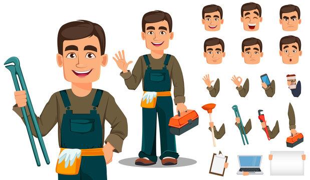 Professional plumber in uniform.
