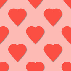Bright pink paper hearts seamless pattern. 3d vector background.