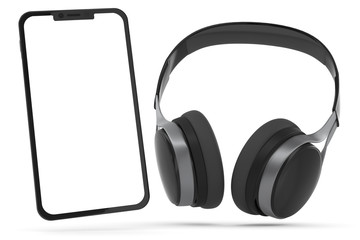 3D Illustration Kopfhörer mit Smartphome
