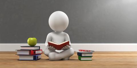 3D Illustration weißes Männchen beim lesen