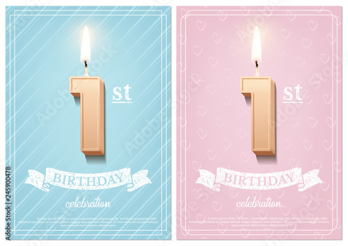 Burning Number 1 Birthday Candle With Vintage Ribbon And Celebration Text On Textured Blue Pink Backgrounds In Postcard Format