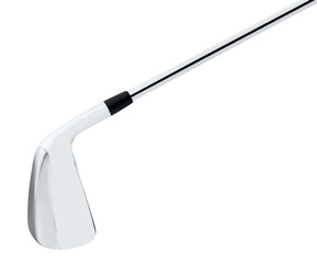 metal golf club on white background