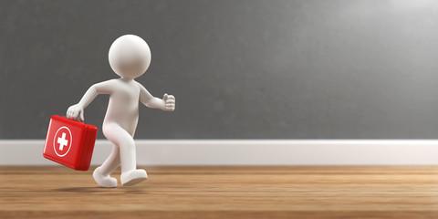 3D Illustration weißes Männchen rennt mit Arztkoffer