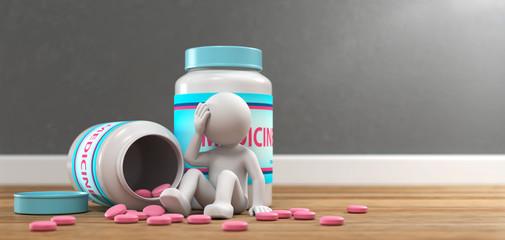 3D Illustration weißes Männchen Überdosis