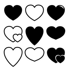 Vector heart icon variation , logo on white background, love icon