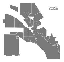 Boise Idaho city map with neighborhoods grey illustration silhouette shape