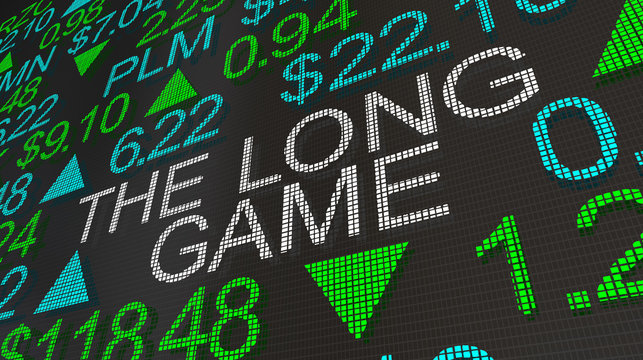 The Long Game Strategy Stock Market Ticker Words 3d Illustration
