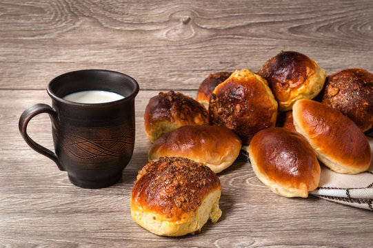 clay glass milk with buns and pies