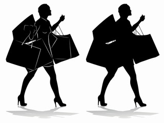 silhouette of a shopping woman with a bags , vector draw