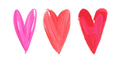 Happy Valentines Day. Beautiful Bright Watercolor Stroke Watercolor Heart Set. Concept - love and relationship, art, valentine.