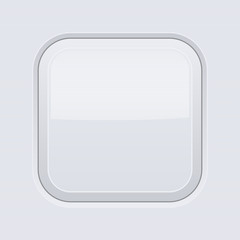 White interface square button. Blank 3d icon
