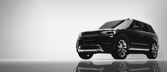 Black SUV car on white background.