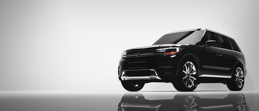 Black SUV car on white background.
