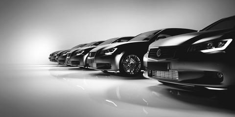 Black sedan cars standing in a row.