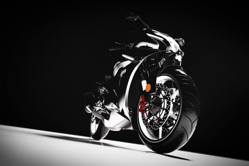 Motorcycle on black background.