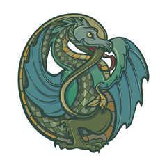 Decorative dragon. Medieval gothic style concept art. Design element. Vintage color palette. Hand drawn image isolated on white background. EPS10 vector illustration