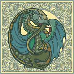 Decorative dragon. Medieval gothic style concept art. Design element. Hand drawn image isolated on decorative floral background. EPS10 vector illustration