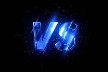 Glowing versus logo on black background. Illuminated comparison symbol.