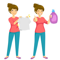 Woman holding a clean washed shirt and presenting a recommended laundry product