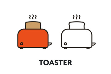 Red Toaster Bread Vector Flat Line Stroke Icon.