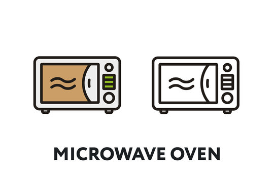 Microwave OvenVector Flat Line Stroke Icon.