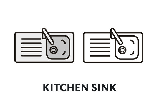 Kitchen Sink Top ViewVector Flat Line Stroke Icon