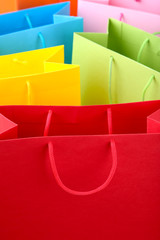 Close up of colorful paper shopping bags
