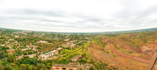 Mine Giant-Deep, Krivoy Rog. Red landscape iron ore quarries