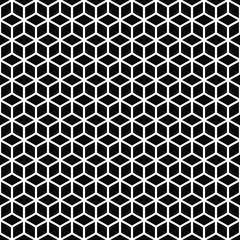 Vector seamless pattern. Cubes texture. Black-and-white background. Monochrome line cubic grid design. Vector EPS 10