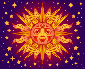sun with face and stars