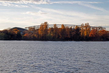 Lake Maschsee and the footbal stadium in Hanover