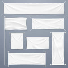 Textile banners. White blank cloth horizontal, vertical banners and flag. Fabric advertising ribbons and posters vector template. White textile sheet, material canvas hanging illustration