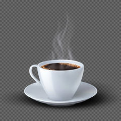 Custom vertical slats for kitchen with your photo White realistic coffee cup with smoke isolated on transparent background. Coffee cup beverage, cafe breakfast illustration