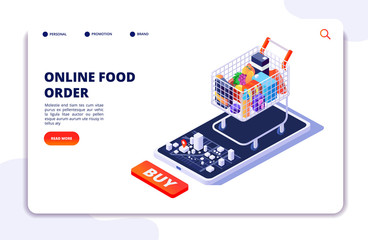 Grocery food delivery. Online order with mobile app. Internet food restaurant isometric concept. Delivery isometric from shop food illustration